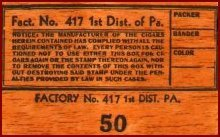 tax stamp cigar box label