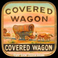Covered Wagon round out cigar box label