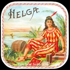 Helga outer cigar label
