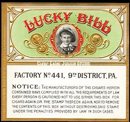 Lucky Bill warn outer cigar label