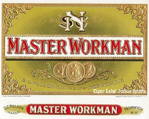 Master Workman cigar box label