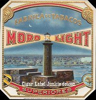Moro Light outer cigar box label