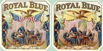 Royal Blue outers cigar box label