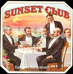 Sunset Club outer cigar label