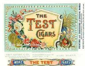 Test Cigars cigar box label