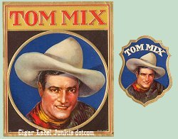 Tom Mix outers cigar box label