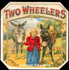 Two Wheelers outer cigar label